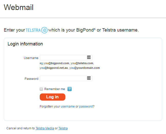 Telstra/ Bigpond Email Login Issue with Webmail [SOLVED]
