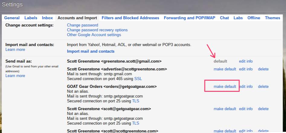 Change Default Sending Email Address In Gmail