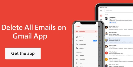 delete all emails on Gmail app