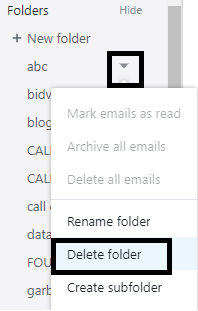 delete folder in Yahoo mail
