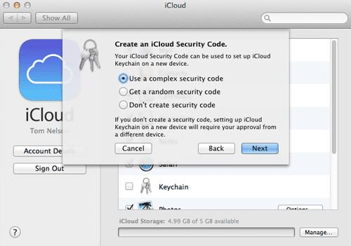 iCloud Keychain Security Code