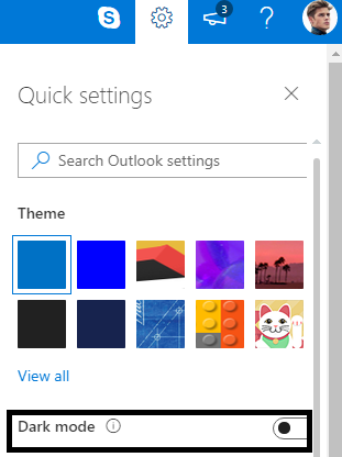 outlook dark mode toggle